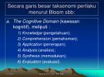 secara garis besar taksonomi perilaku menurut bloom sbb