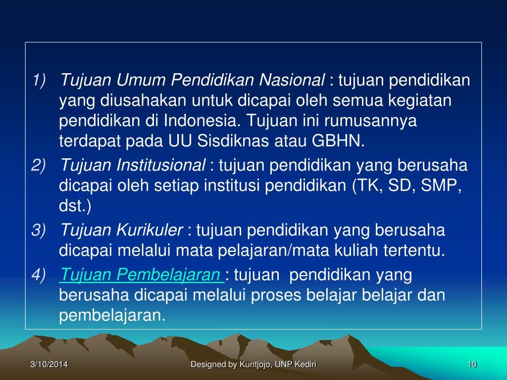 Tujuan Umum Pendidikan Nasional