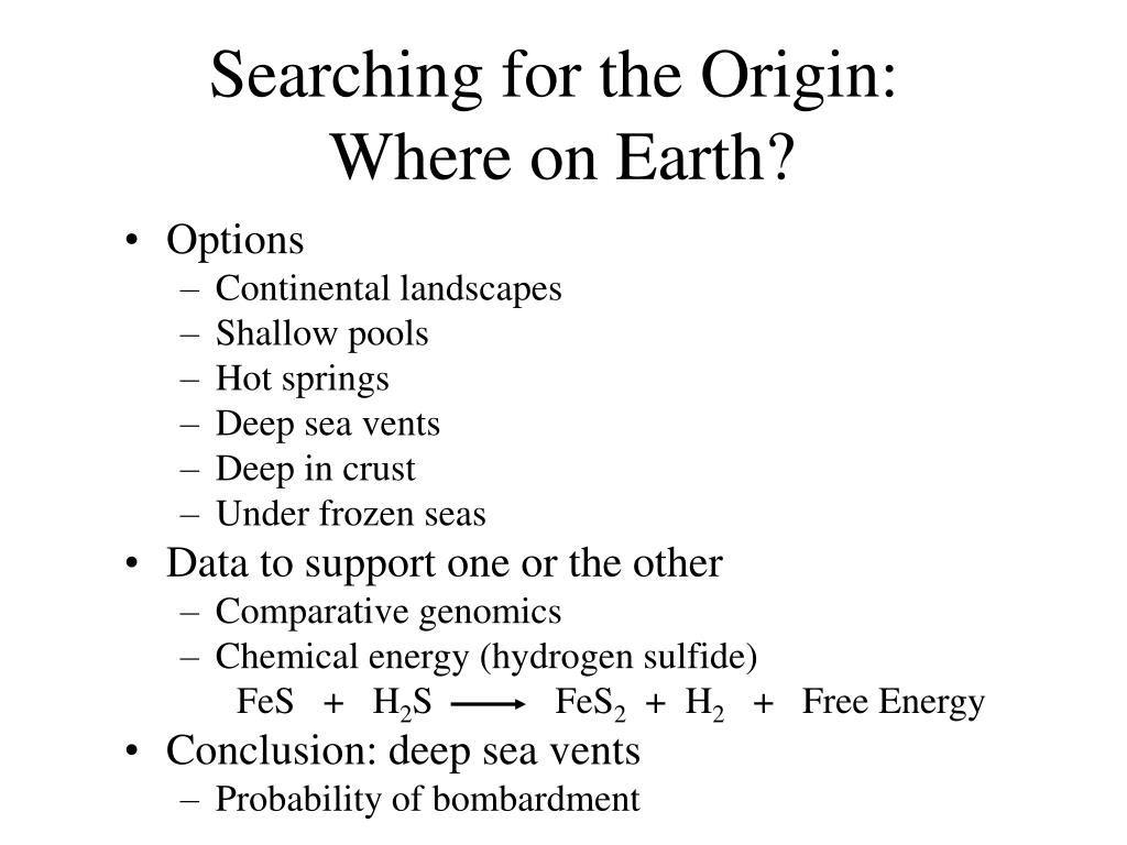 Searching for the Origin:
