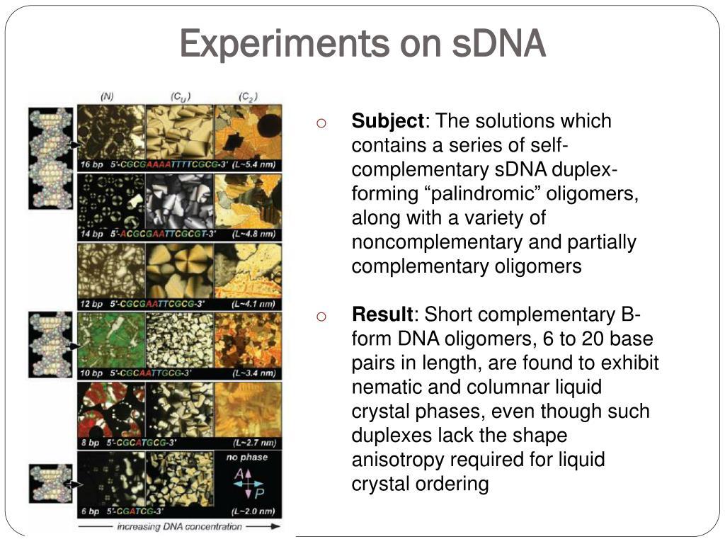 Experiments on sDNA
