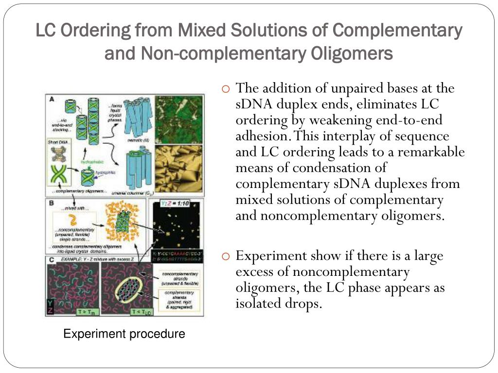 LC Ordering from Mixed Solutions of Complementary and Non-complementary Oligomers