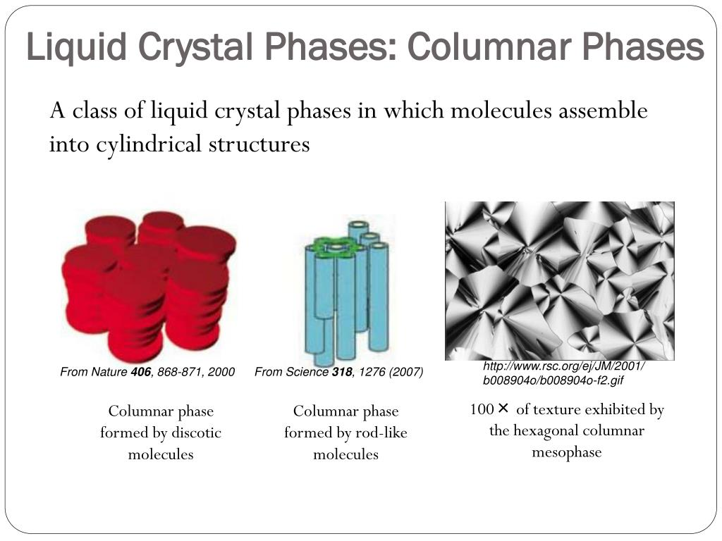 Liquid Crystal Phases: Columnar Phases