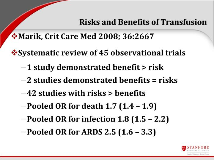Risks and Benefits of Transfusion
