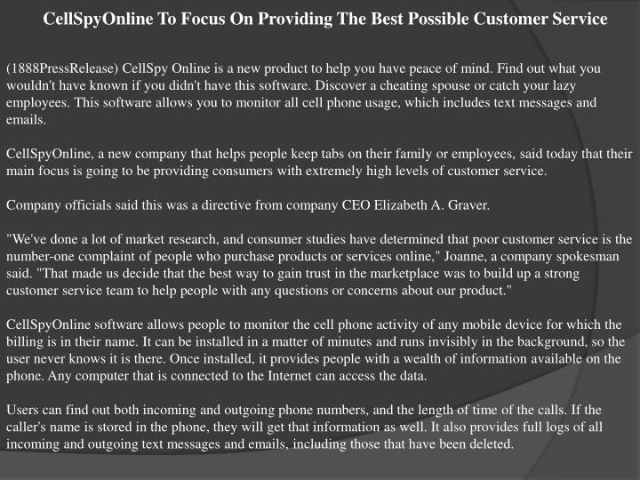 CellSpyOnline To Focus On Providing The Best Possible Customer Service
