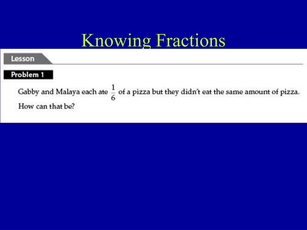 Knowing Fractions