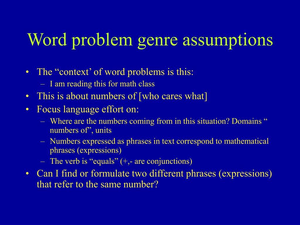 Word problem genre assumptions