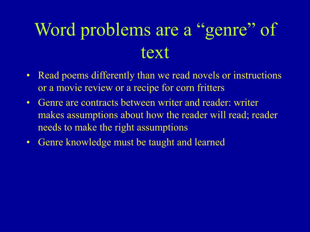 "Word problems are a ""genre"" of text"