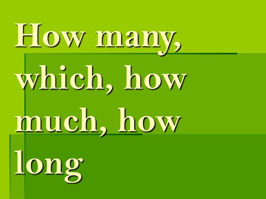 How many, which, how much, how long