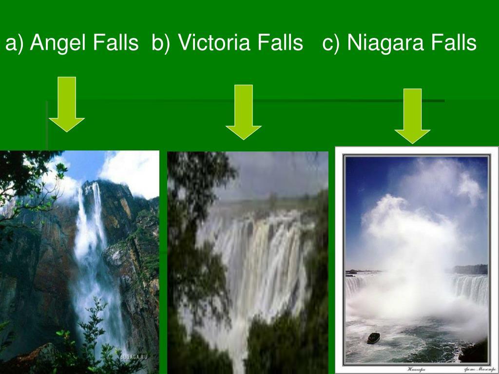 a) Angel Falls  b) Victoria Falls   c) Niagara Falls