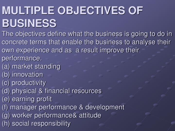 MULTIPLE OBJECTIVES OF BUSINESS