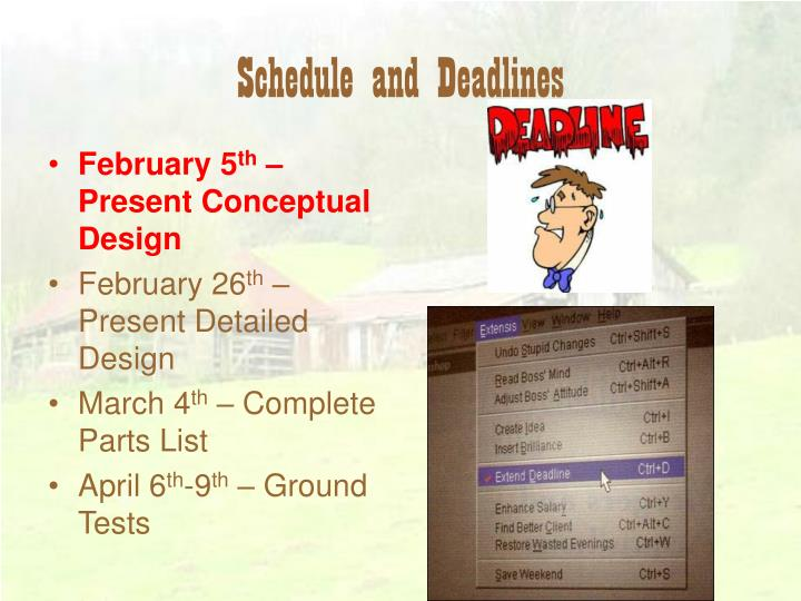 Schedule and Deadlines