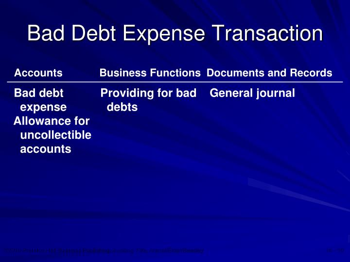 Bad Debt Expense Transaction