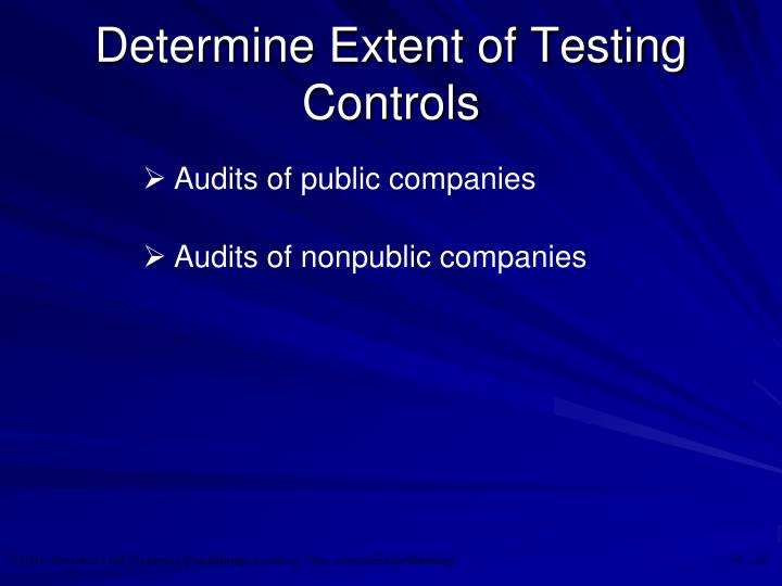 Determine Extent of Testing Controls