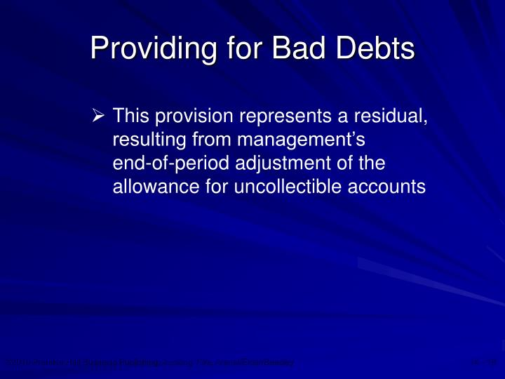 Providing for Bad Debts
