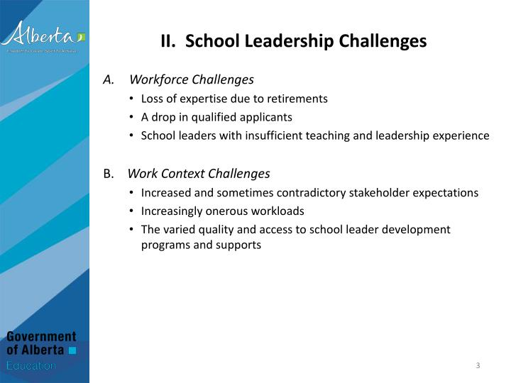 Ii school leadership challenges