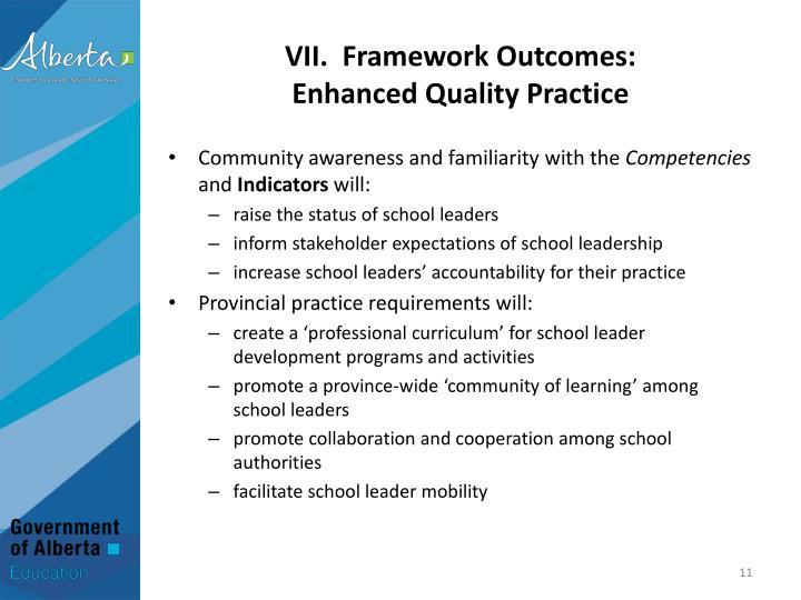 VII.  Framework Outcomes: