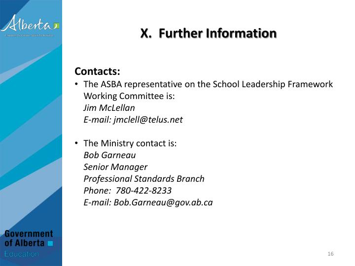 X.  Further Information