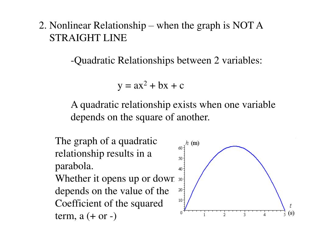 2. Nonlinear Relationship – when the graph is NOT A
