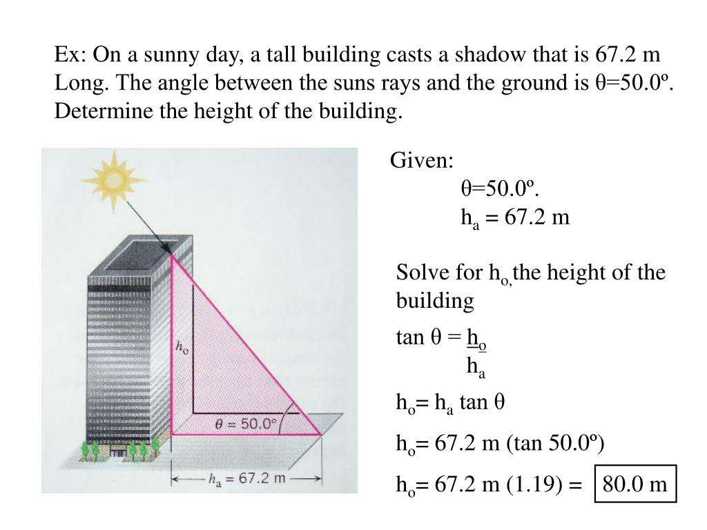 Ex: On a sunny day, a tall building casts a shadow that is 67.2 m