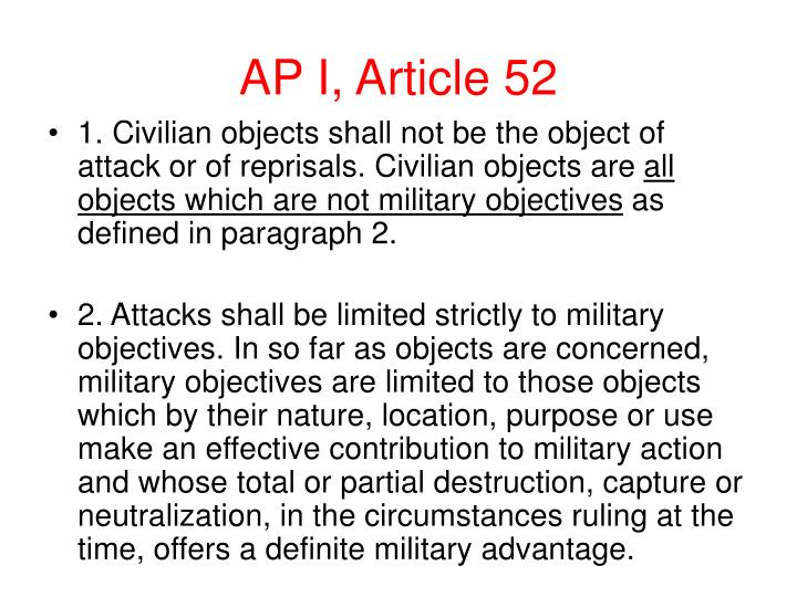 AP I, Article 52