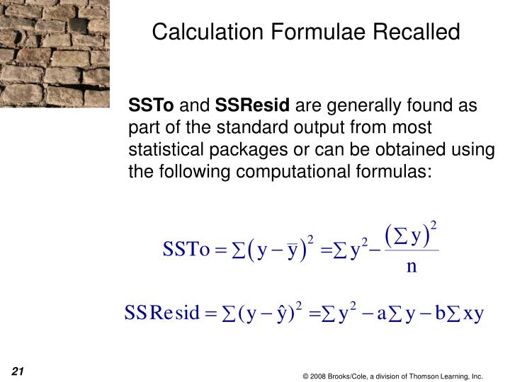 Calculation Formulae Recalled
