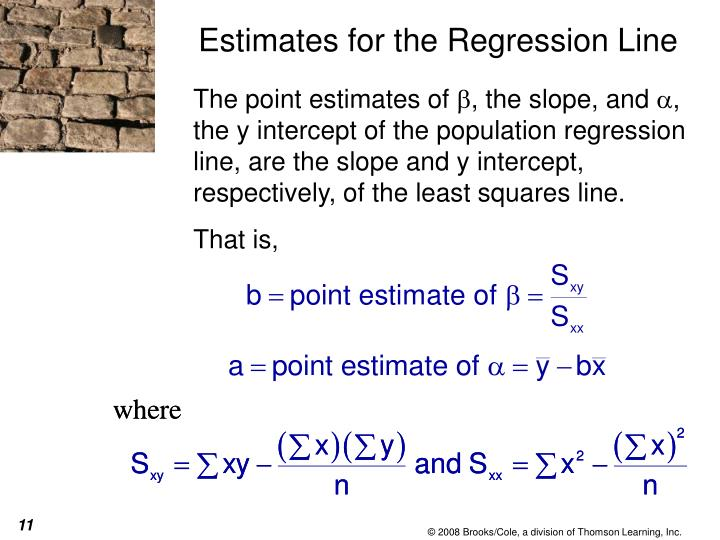Estimates for the Regression Line