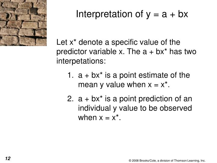 Interpretation of y = a + bx