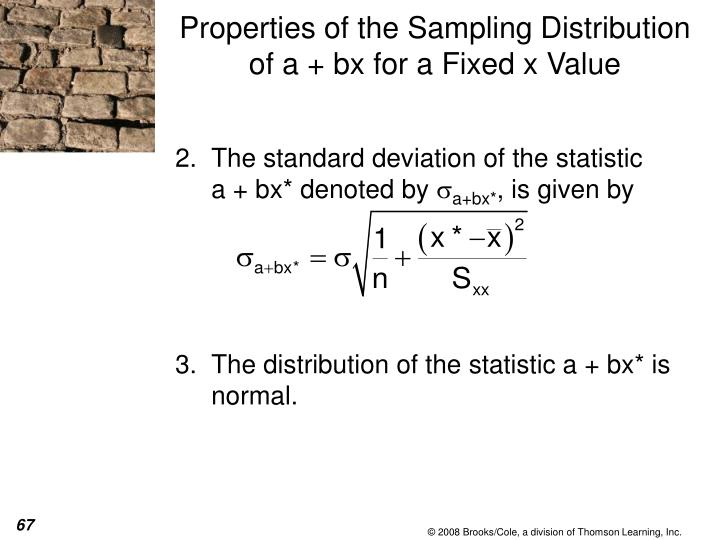 The standard deviation of the statistic        a + bx* denoted by