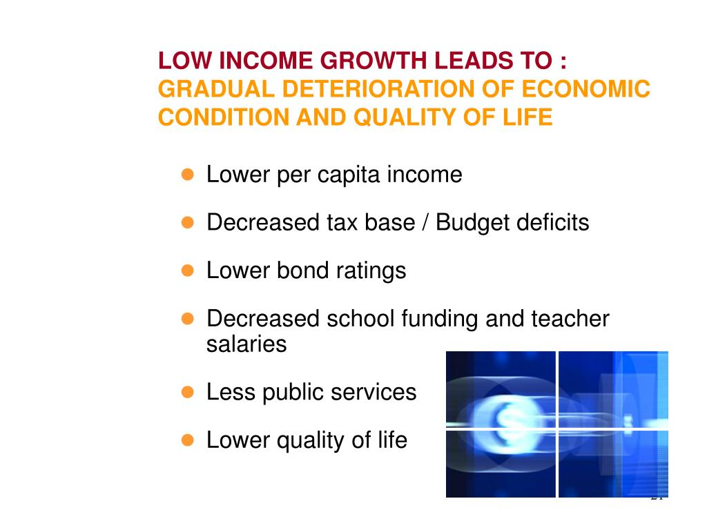 LOW INCOME GROWTH LEADS TO :