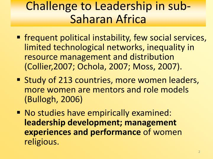 Challenge to Leadership in sub-Saharan Africa