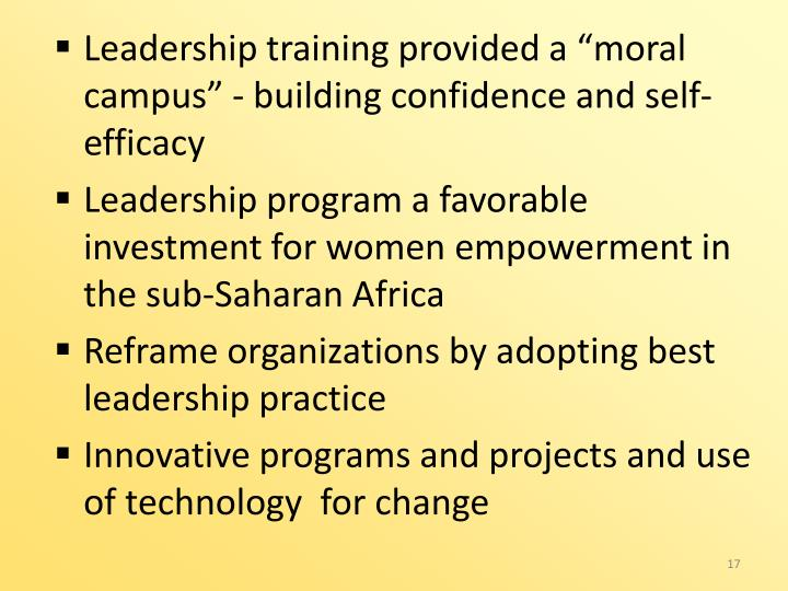 "Leadership training provided a ""moral campus"" - building confidence and self-efficacy"