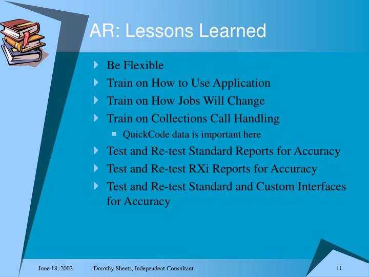 AR: Lessons Learned