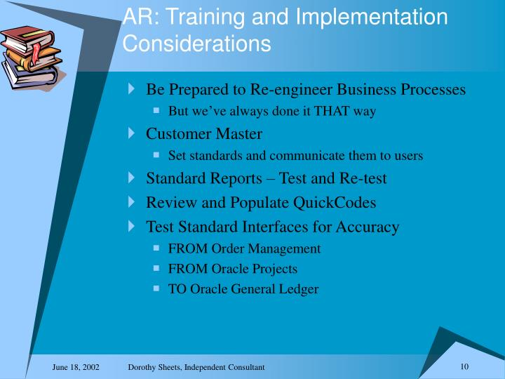 AR: Training and Implementation Considerations