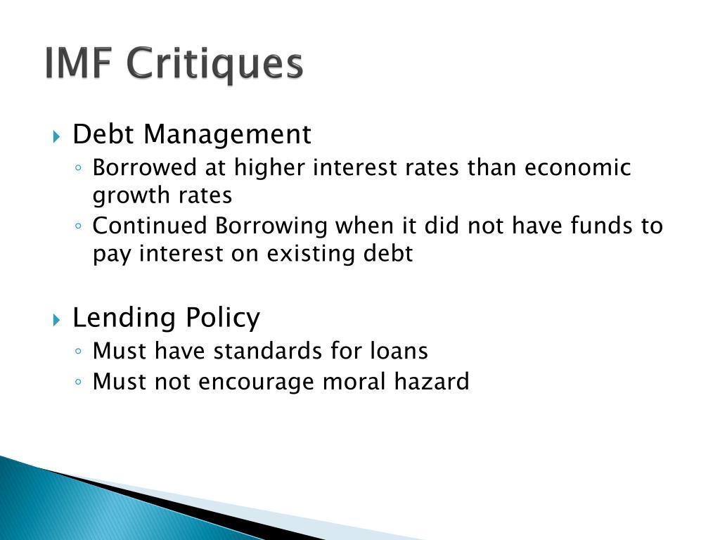 IMF Critiques