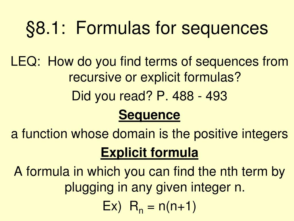 §8.1:  Formulas for sequences