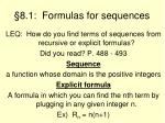 8 1 formulas for sequences