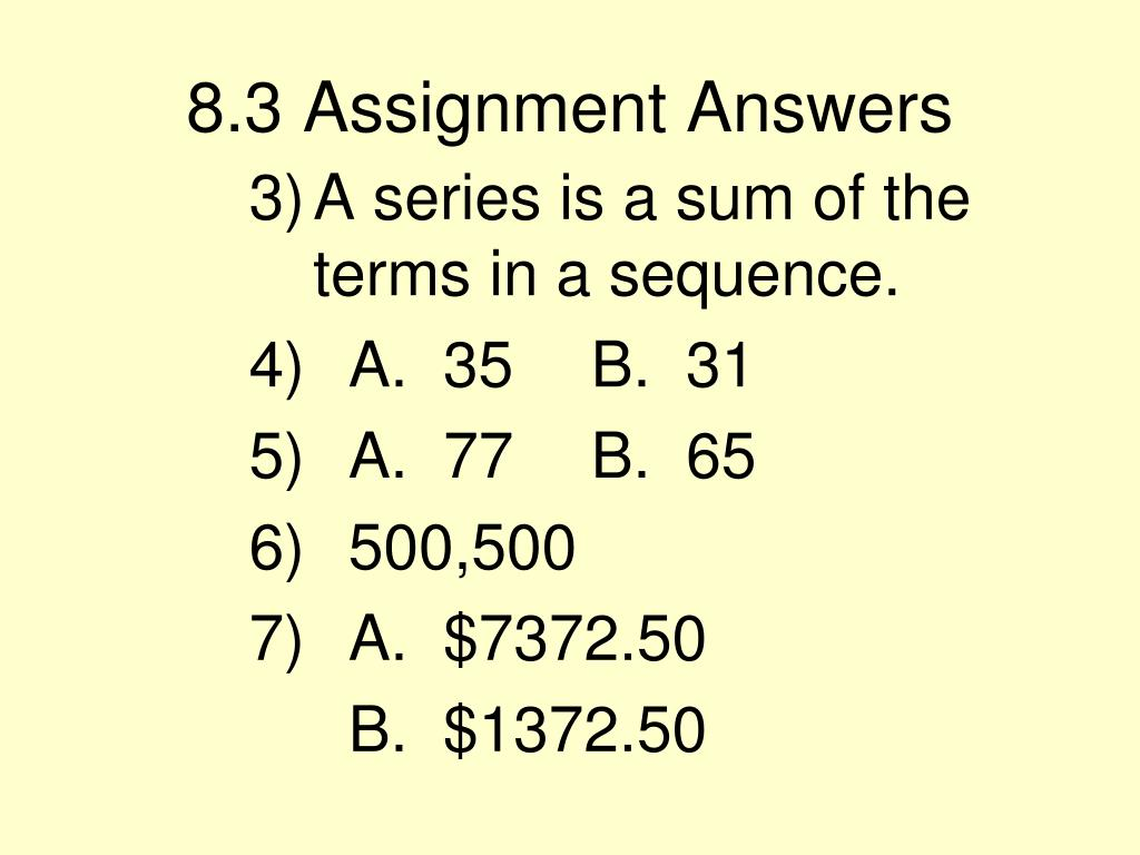 8.3 Assignment Answers