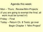 agenda this week
