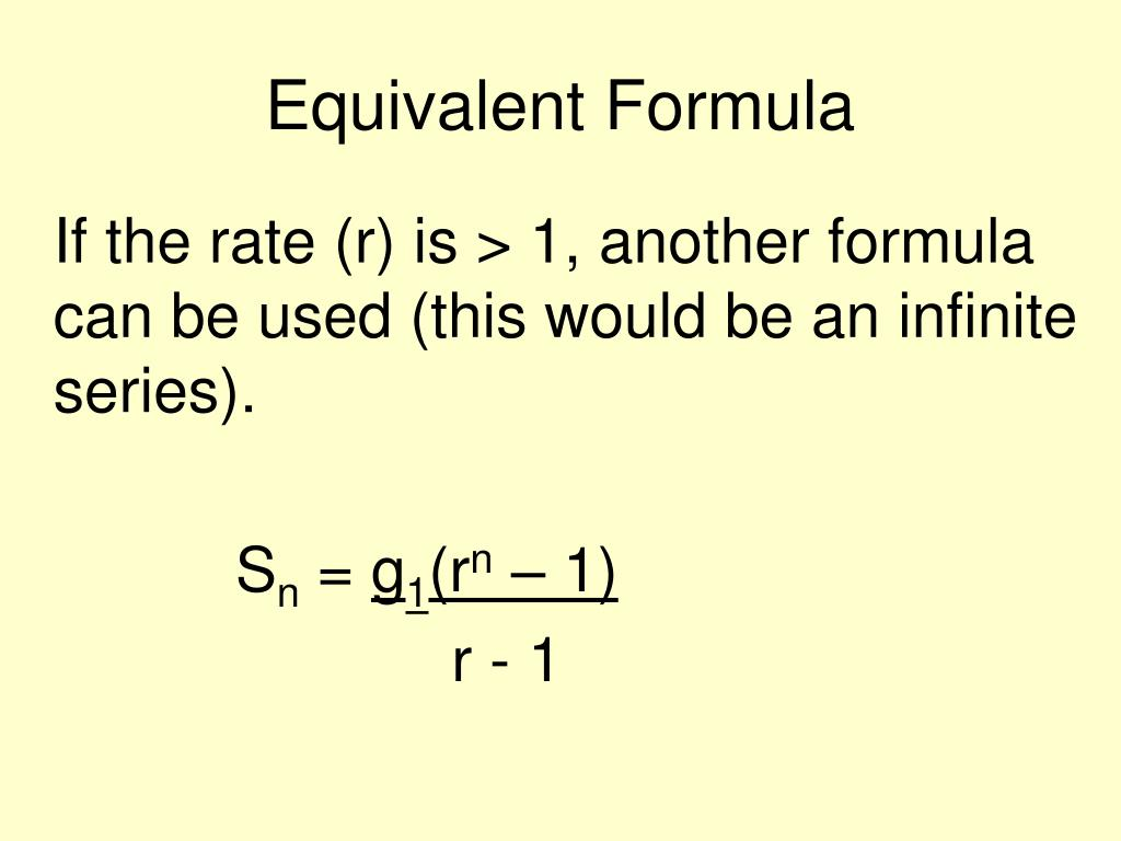 Equivalent Formula