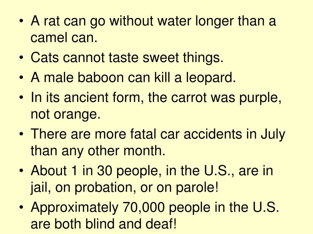 A rat can go without water longer than a camel can.