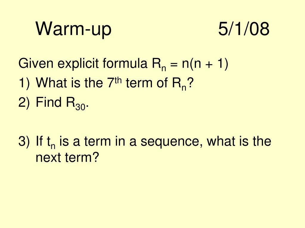 Warm-up5/1/08