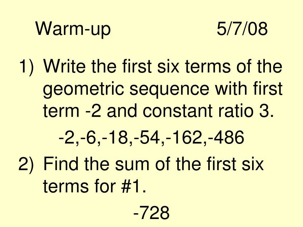 Warm-up5/7/08