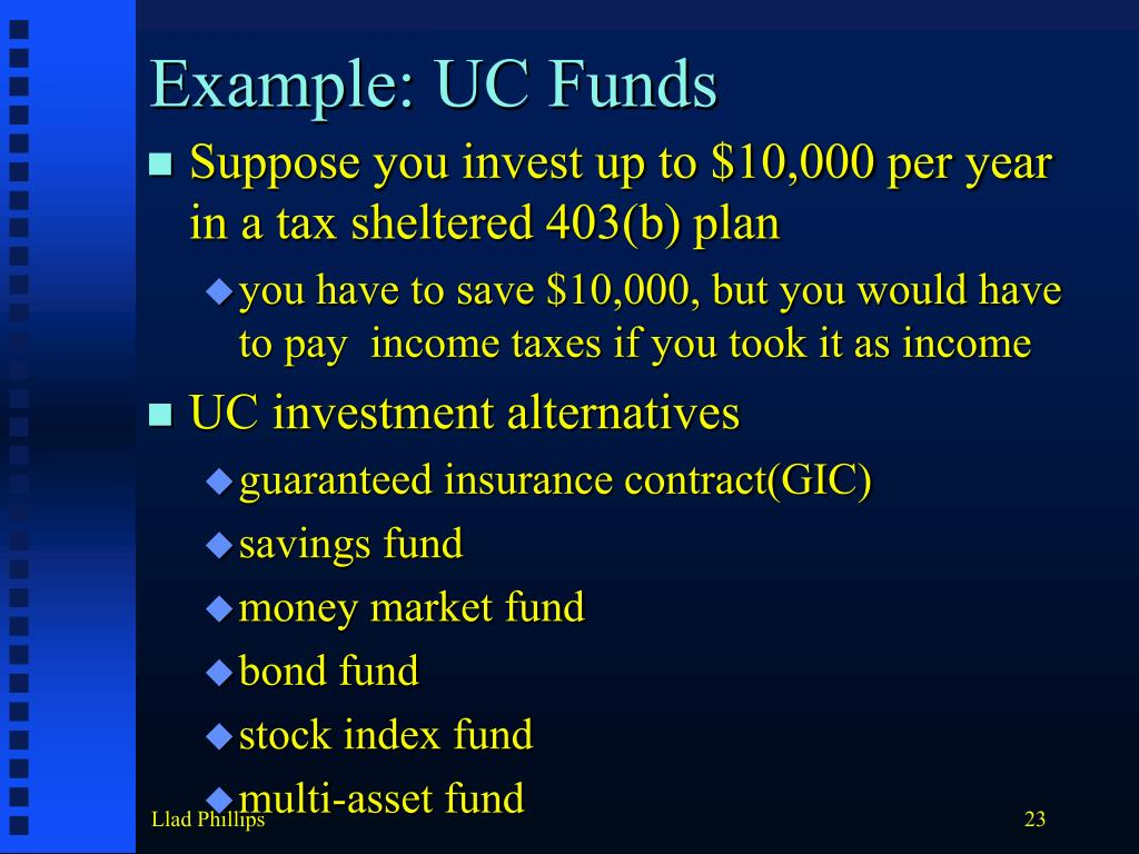 Example: UC Funds