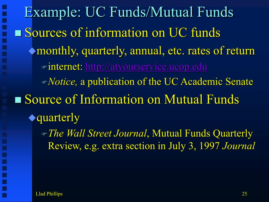 Example: UC Funds/Mutual Funds