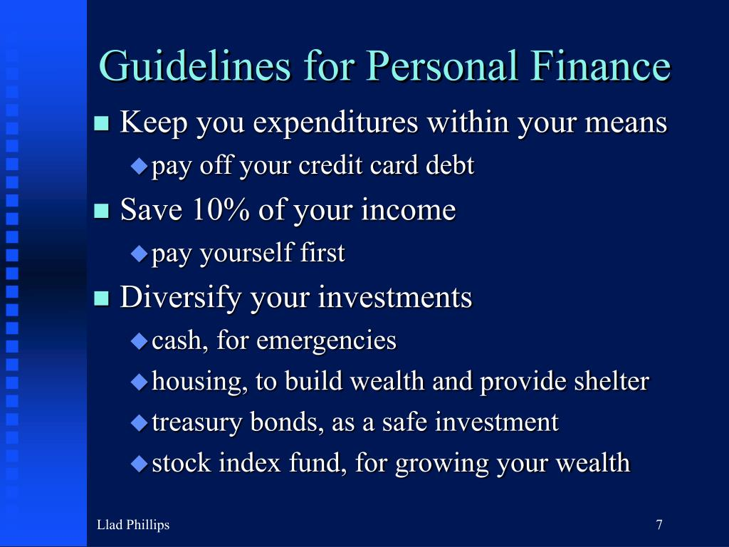 Guidelines for Personal Finance