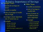 relative importance of savings