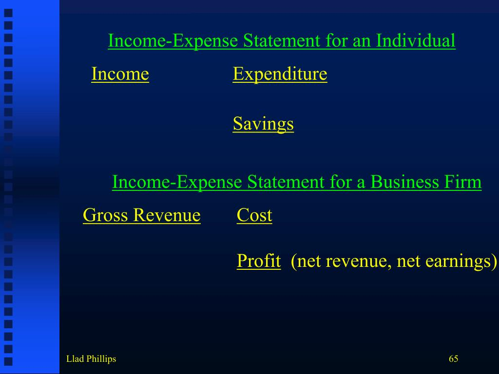 Income-Expense Statement for an Individual