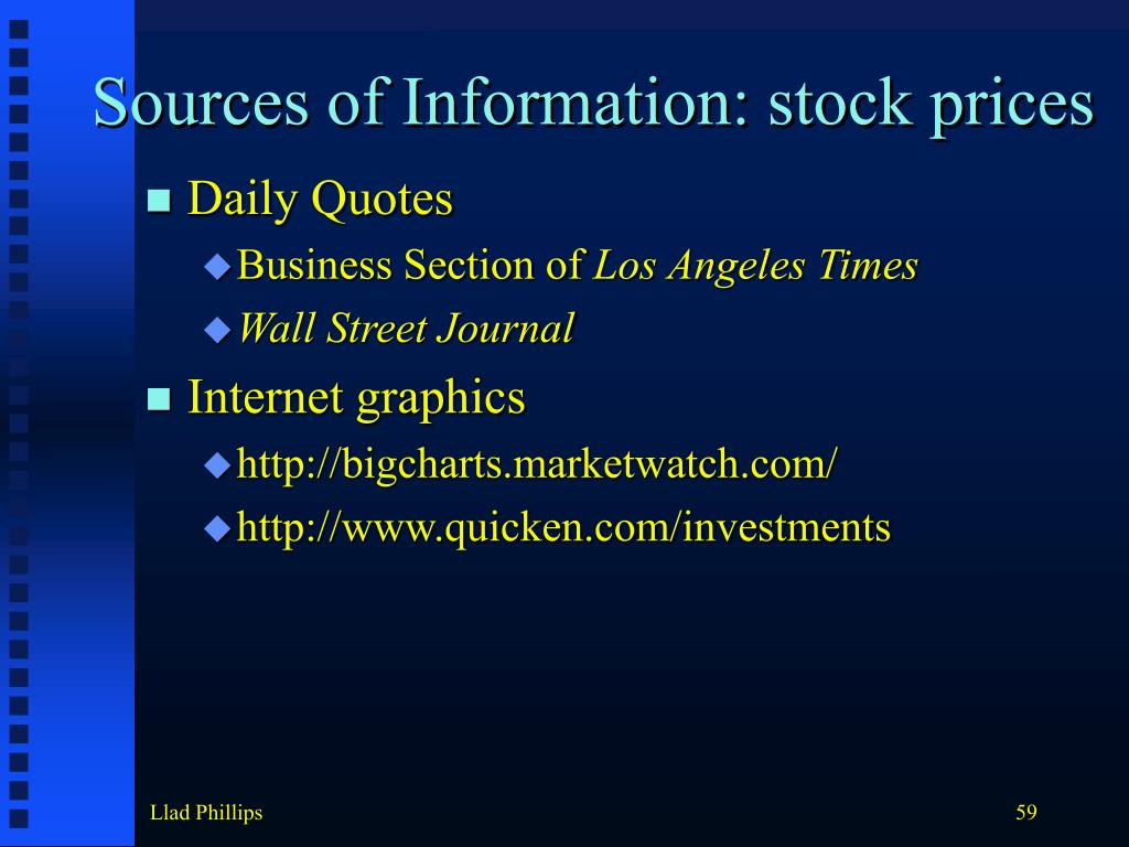 Sources of Information: stock prices