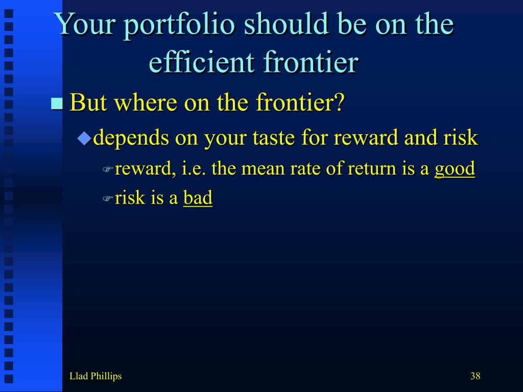 Your portfolio should be on the efficient frontier