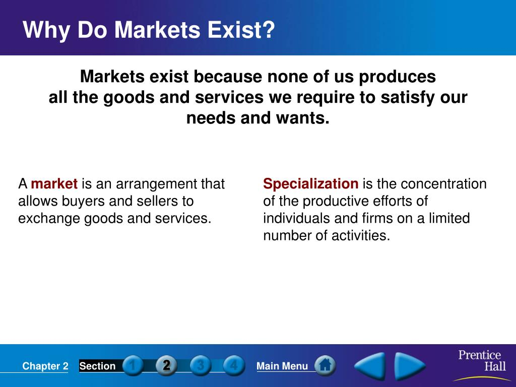 Markets exist because none of us produces
